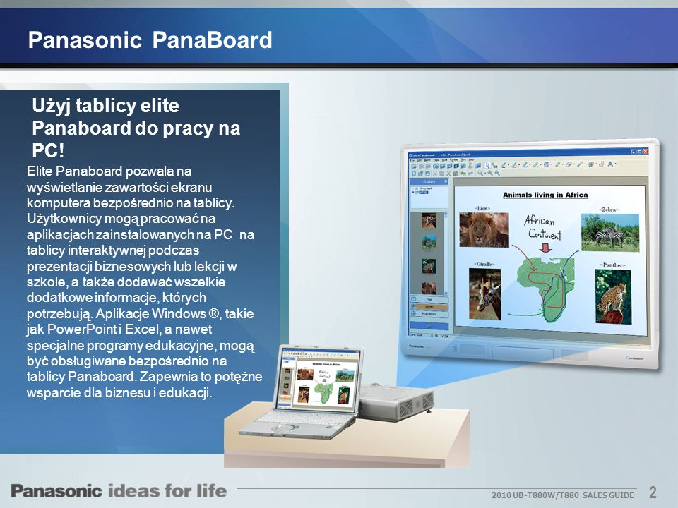 Panasonic PanaBoard Użyj tablicy elite Panaboard do pracy na PC!