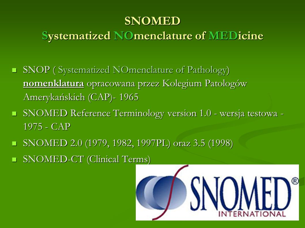 SNOMED Systematized NOmenclature of MEDicine