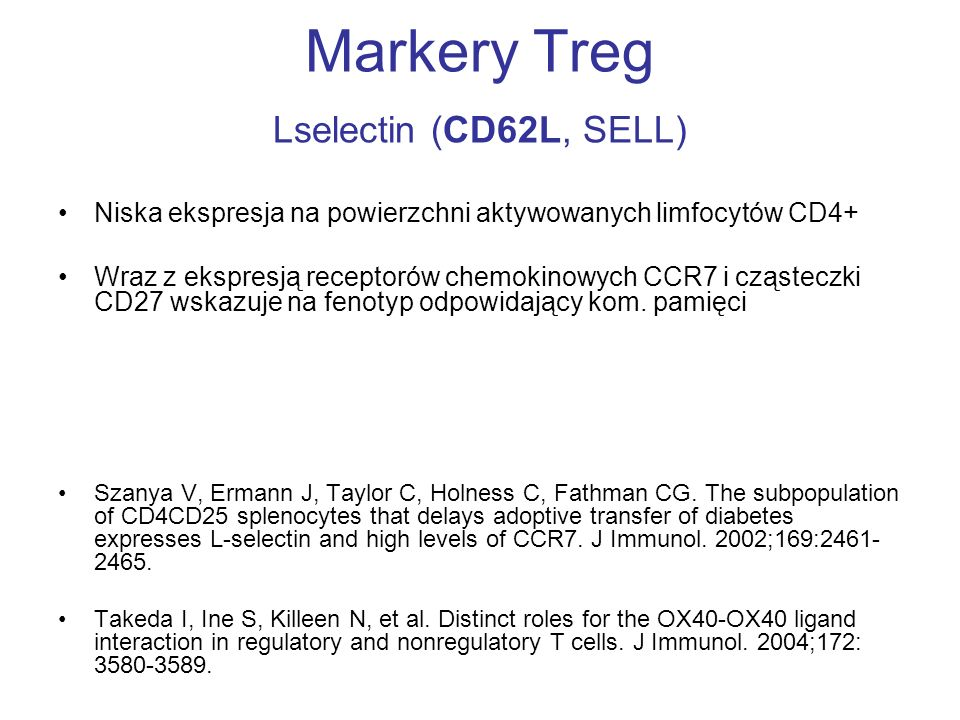 Markery Treg Lselectin (CD62L, SELL)