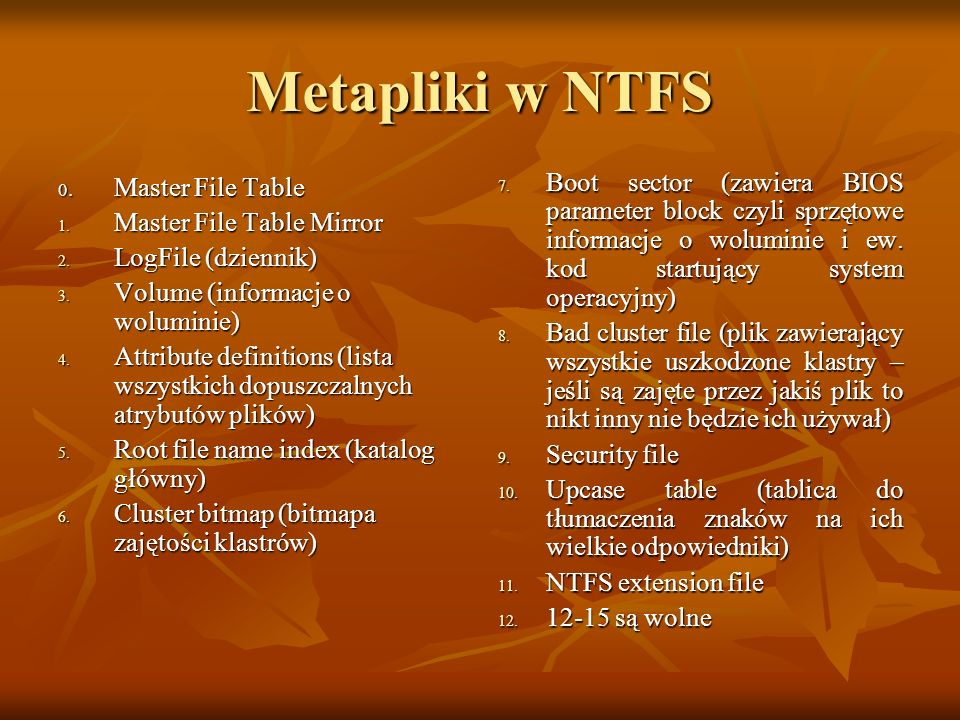 Metapliki w NTFS Master File Table Mirror LogFile (dziennik)