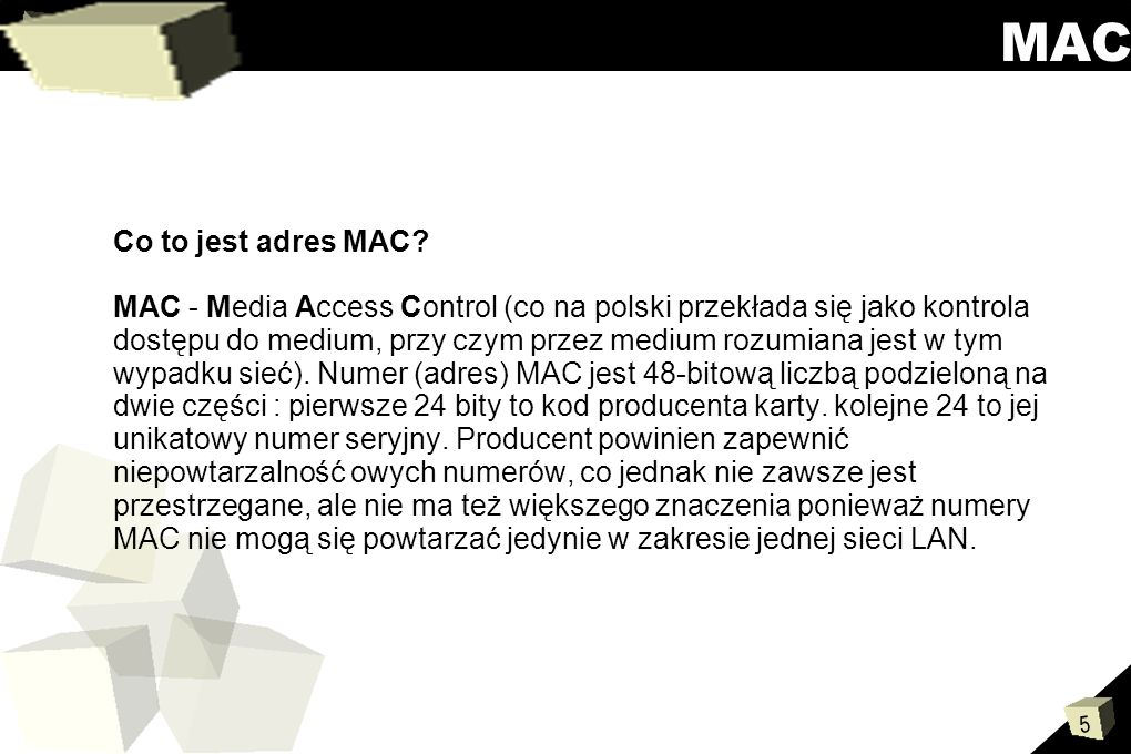 MAC Co to jest adres MAC