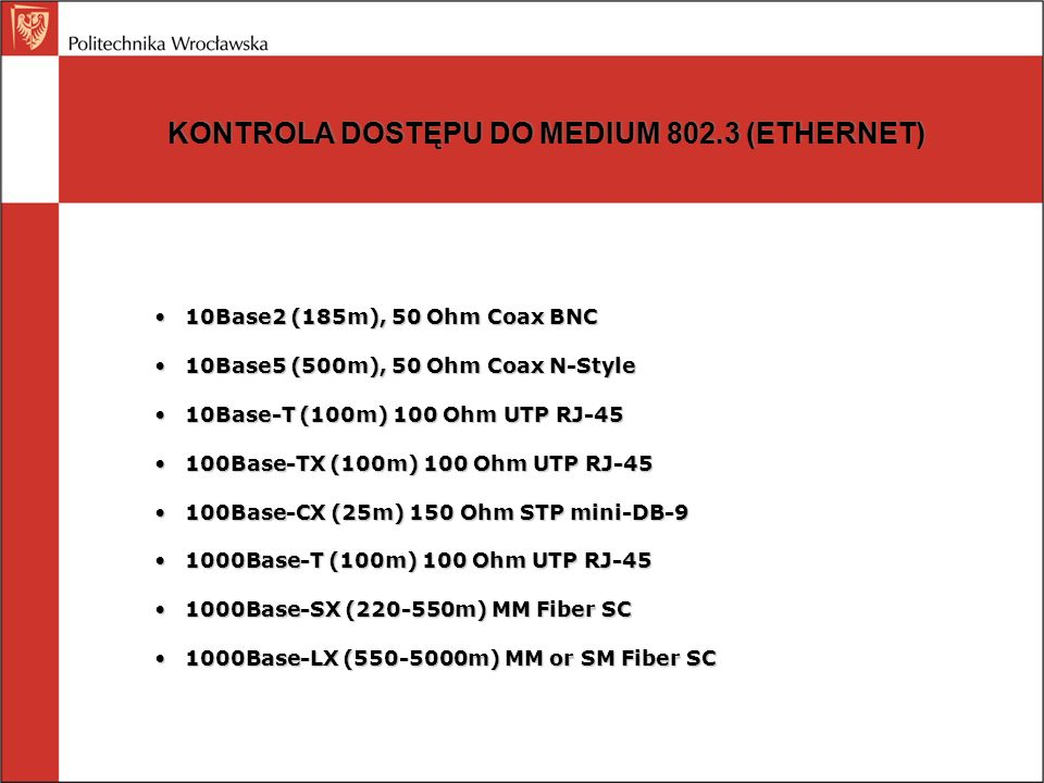 KONTROLA DOSTĘPU DO MEDIUM 802.3 (ETHERNET)