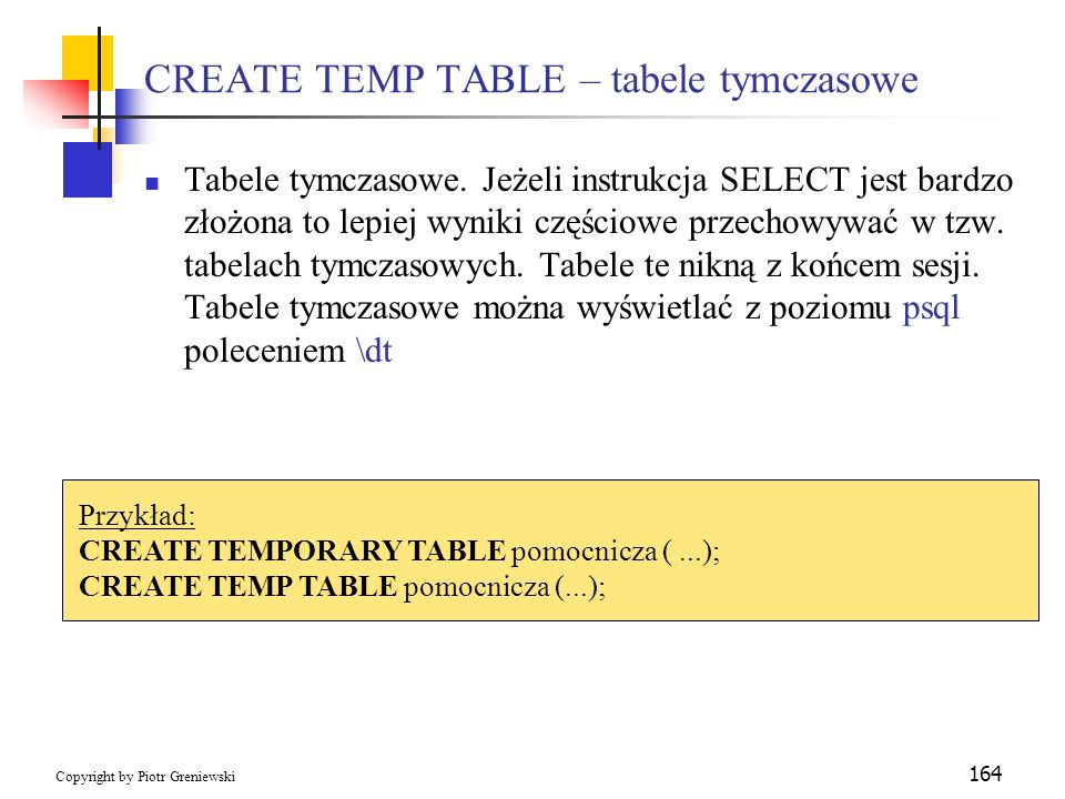 CREATE TEMP TABLE – tabele tymczasowe