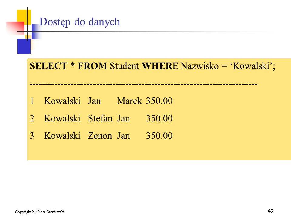 Dostęp do danych SELECT * FROM Student WHERE Nazwisko = 'Kowalski';