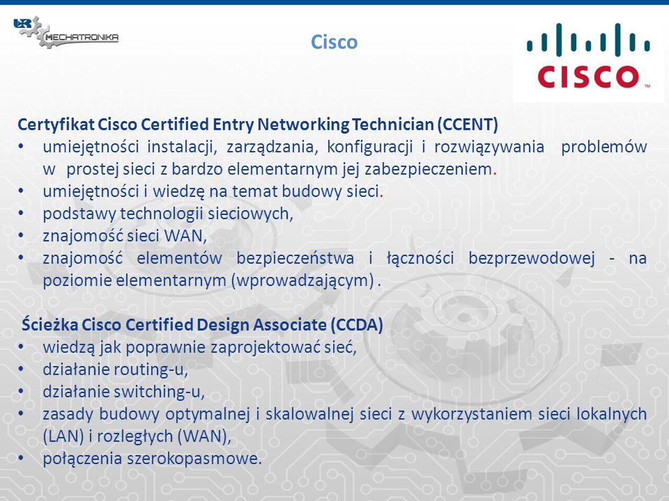 Cisco Certyfikat Cisco Certified Entry Networking Technician (CCENT)