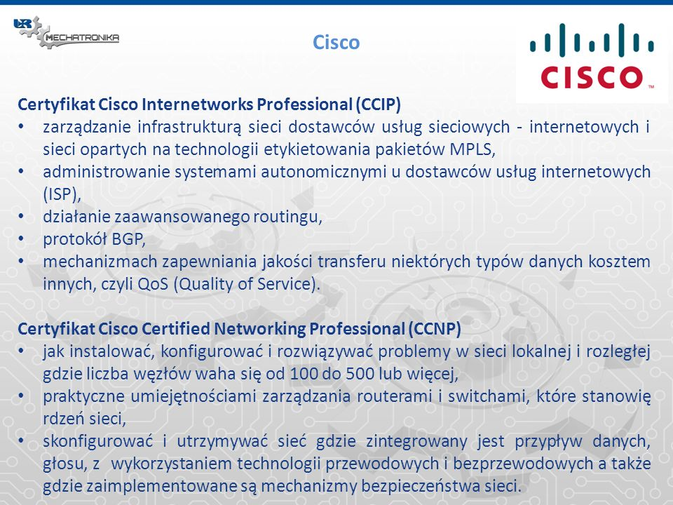 Cisco Certyfikat Cisco Internetworks Professional (CCIP)