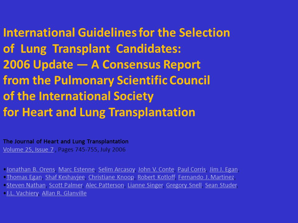 International Guidelines for the Selection