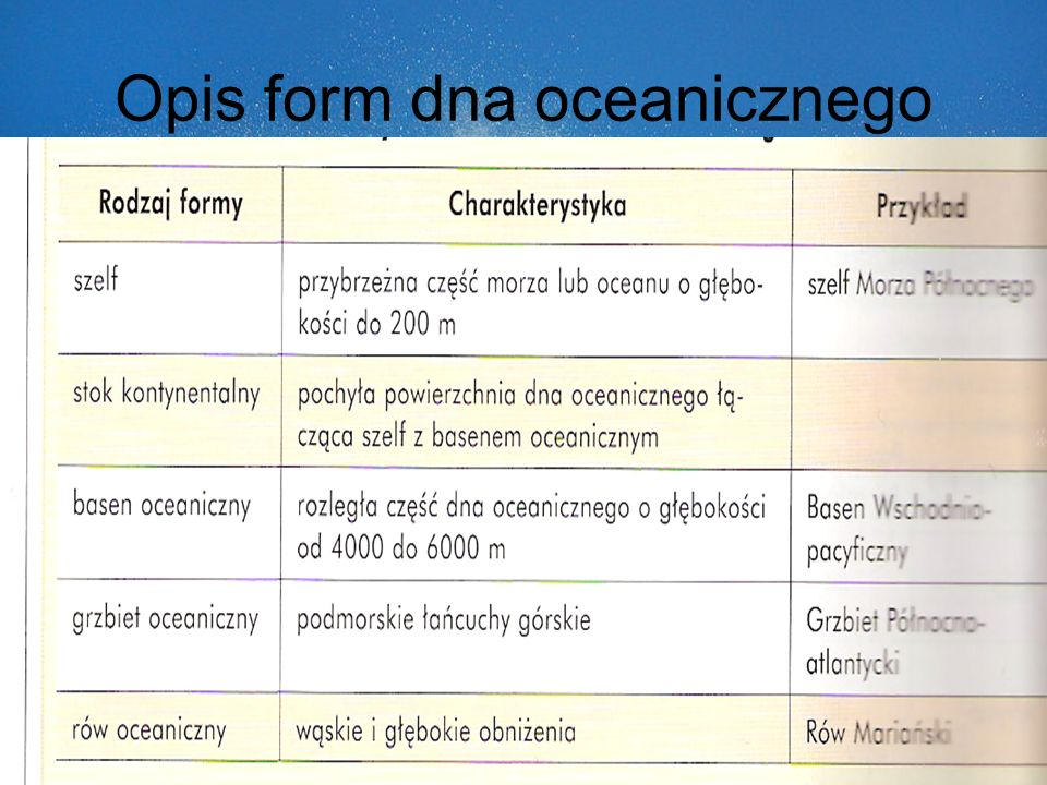 Opis form dna oceanicznego