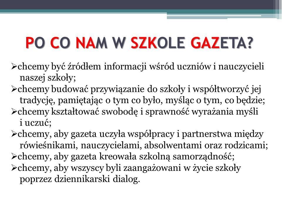 PO CO NAM W SZKOLE GAZETA