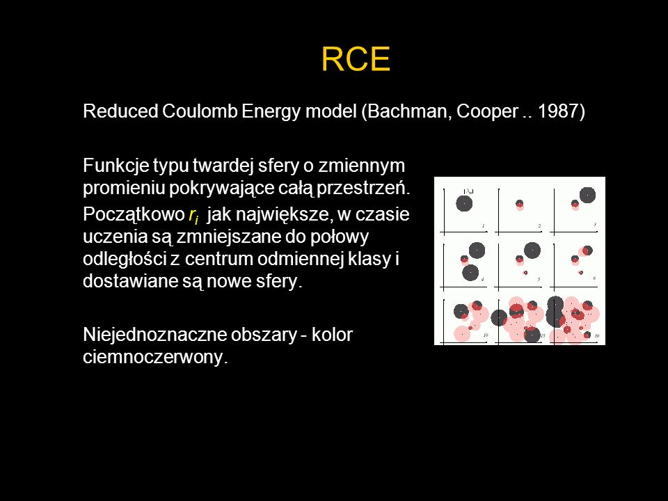 RCE Reduced Coulomb Energy model (Bachman, Cooper )