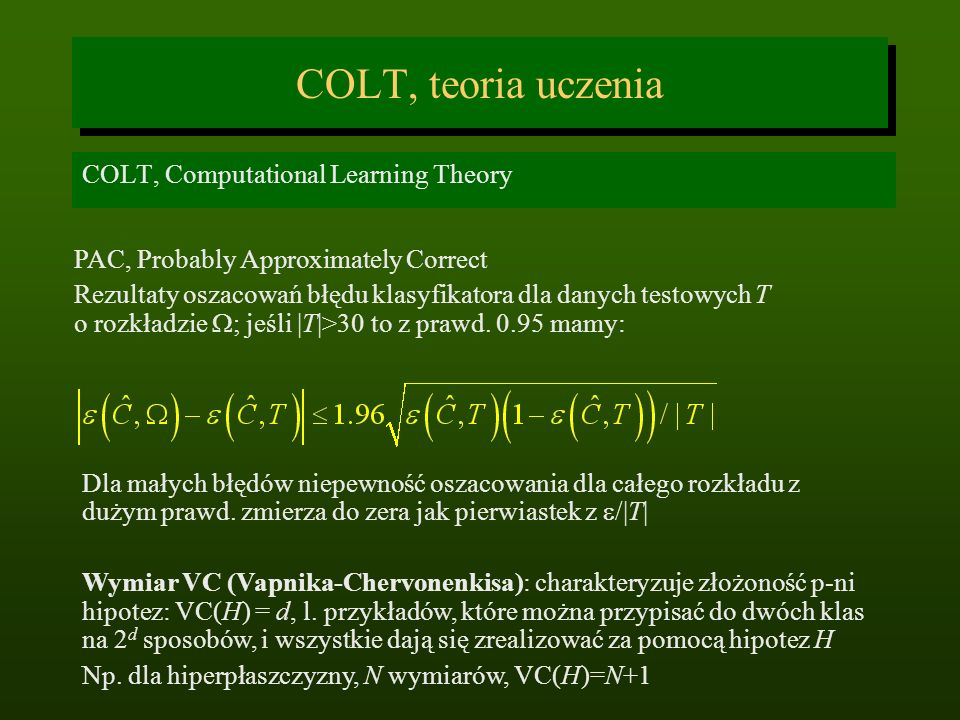 COLT, teoria uczenia COLT, Computational Learning Theory