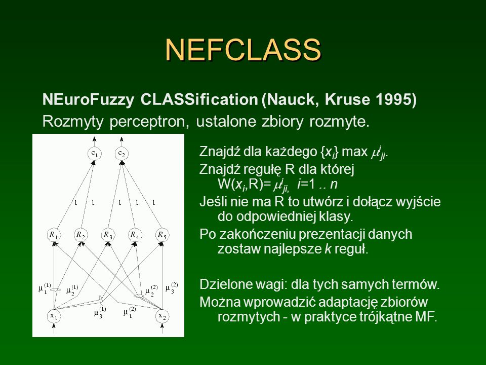 NEFCLASS NEuroFuzzy CLASSification (Nauck, Kruse 1995)