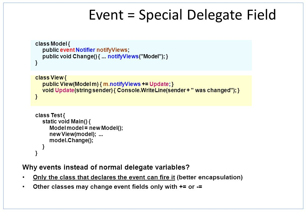 Event = Special Delegate Field
