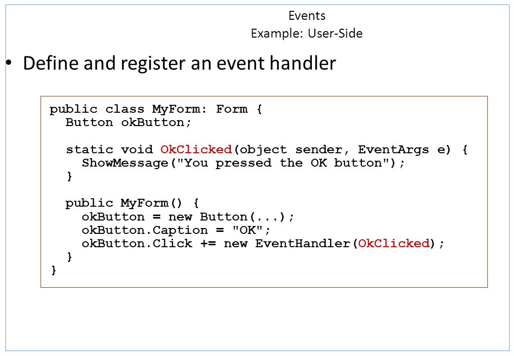 Events Example: User-Side