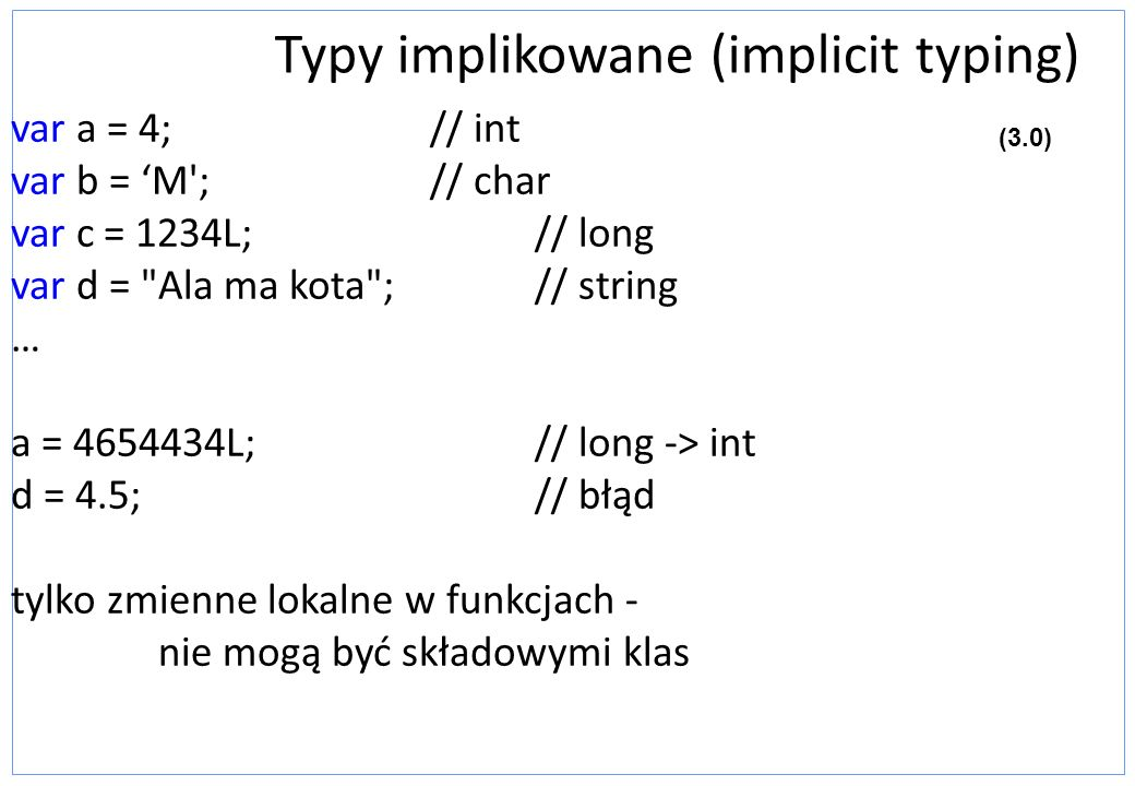 Typy implikowane (implicit typing)