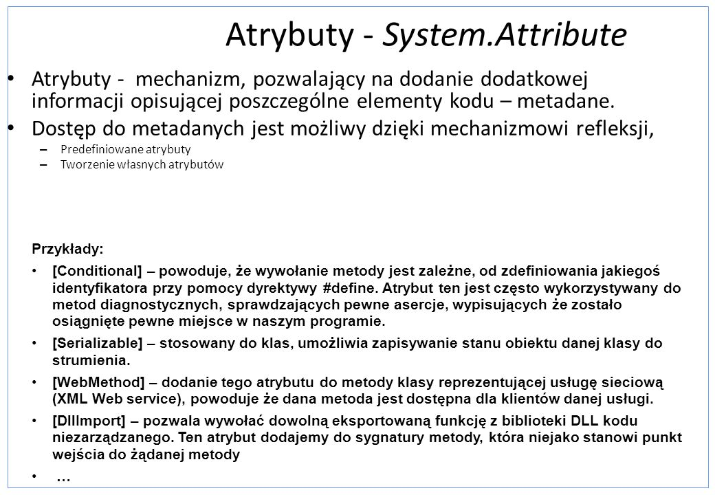 Atrybuty - System.Attribute