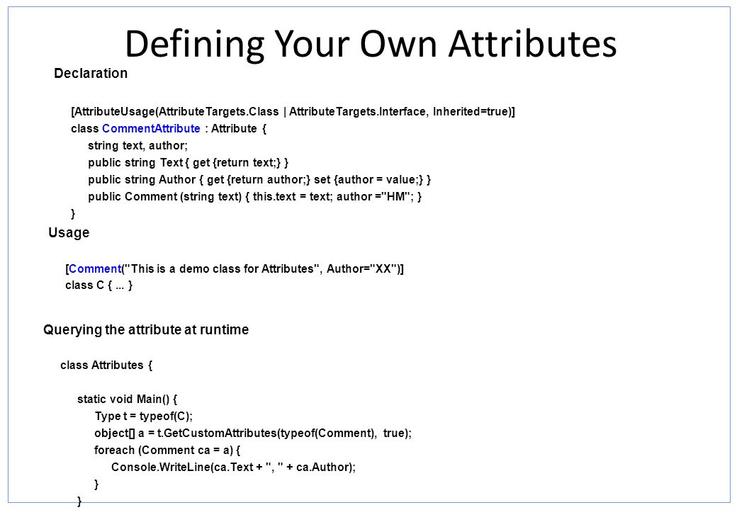 Defining Your Own Attributes