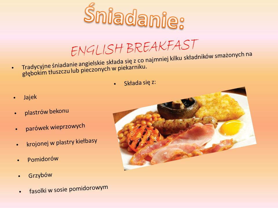 Śniadanie: English breakfast