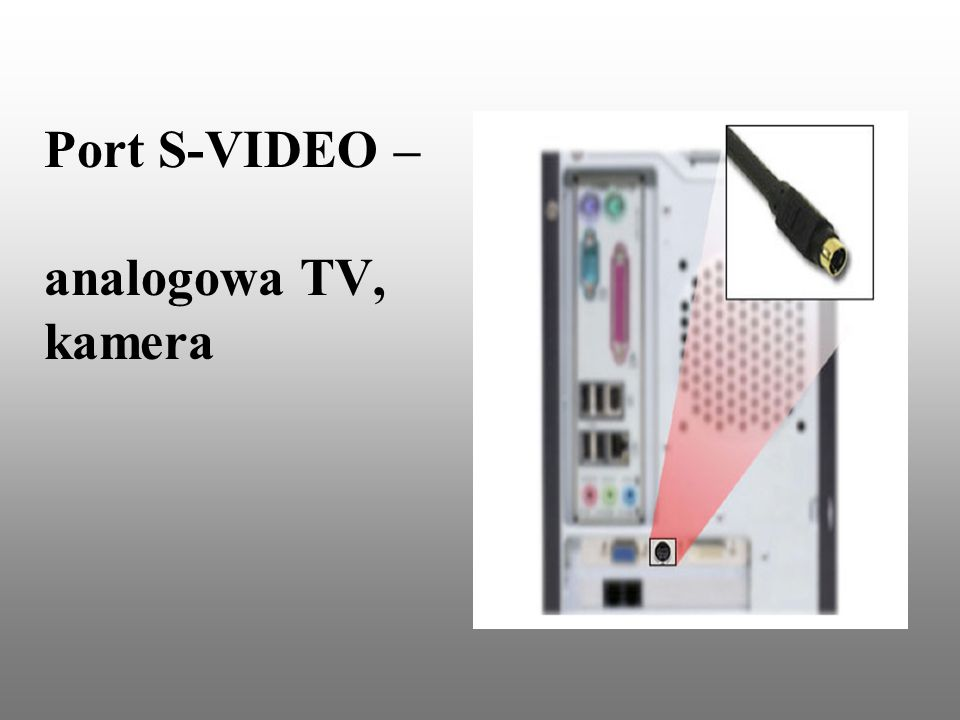 Port S-VIDEO – analogowa TV, kamera