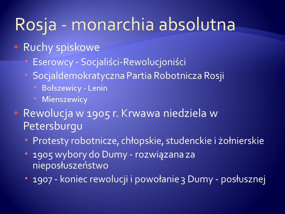 Rosja - monarchia absolutna