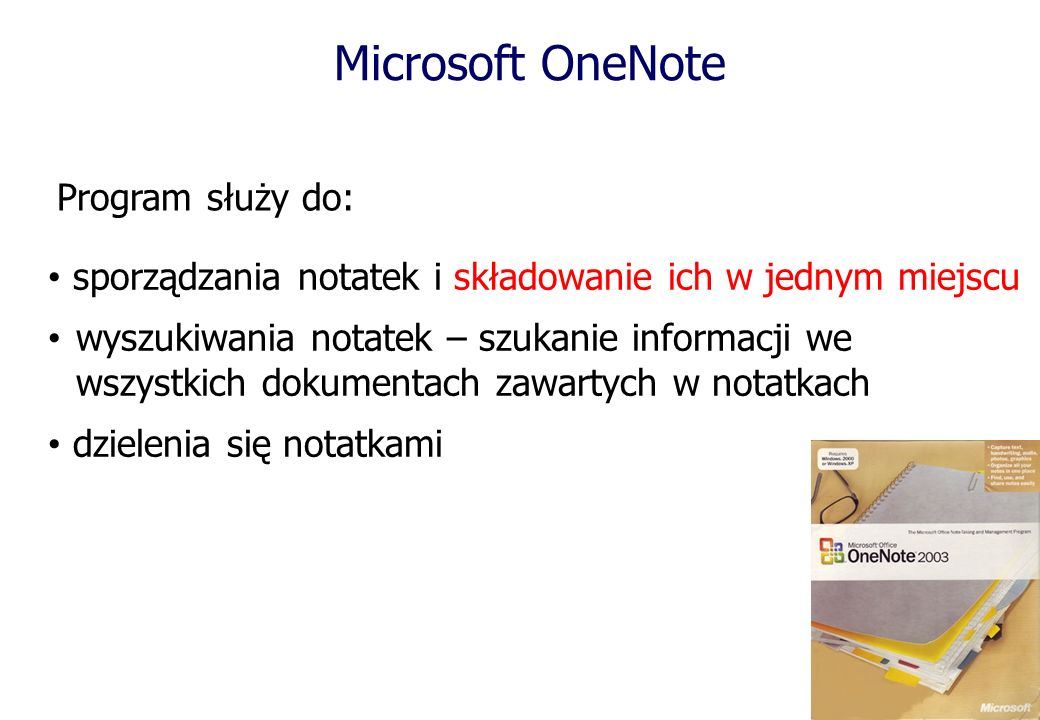 Microsoft OneNote Program służy do: