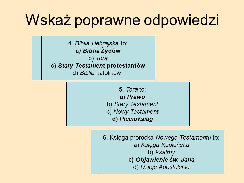 c) Stary Testament protestantów