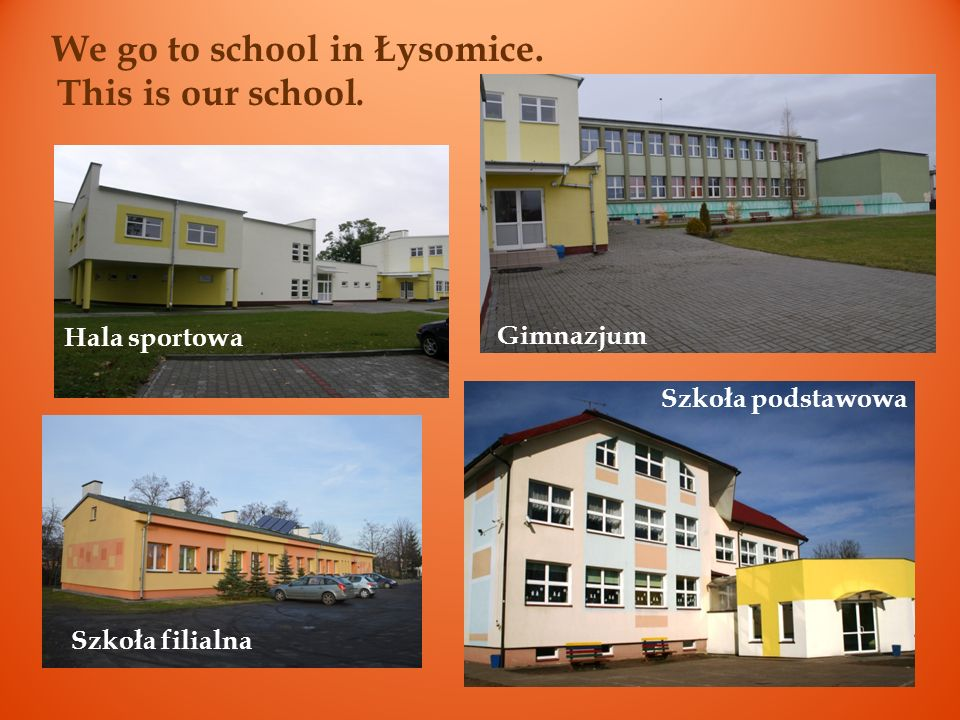 We go to school in Łysomice. This is our school.