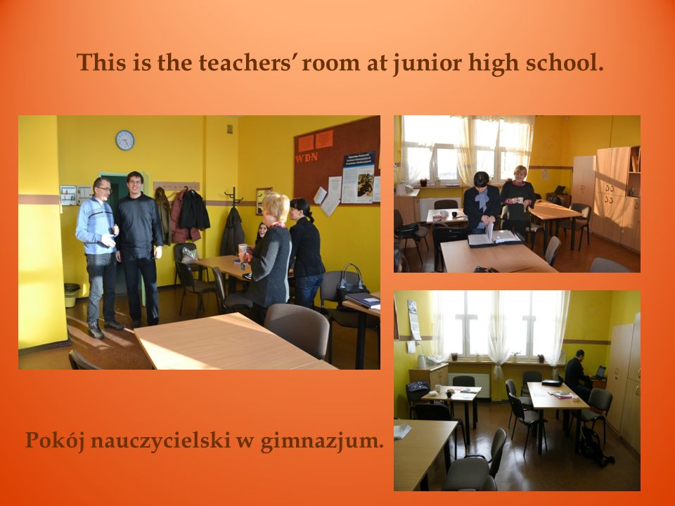 This is the teachers' room at junior high school.