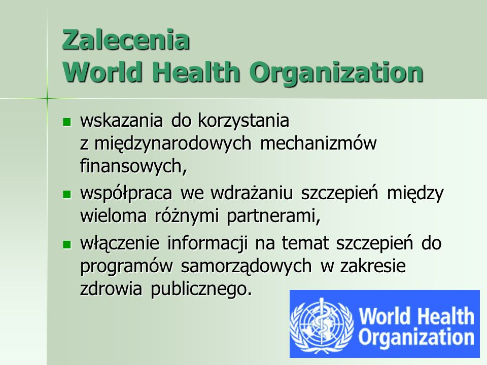 Zalecenia World Health Organization