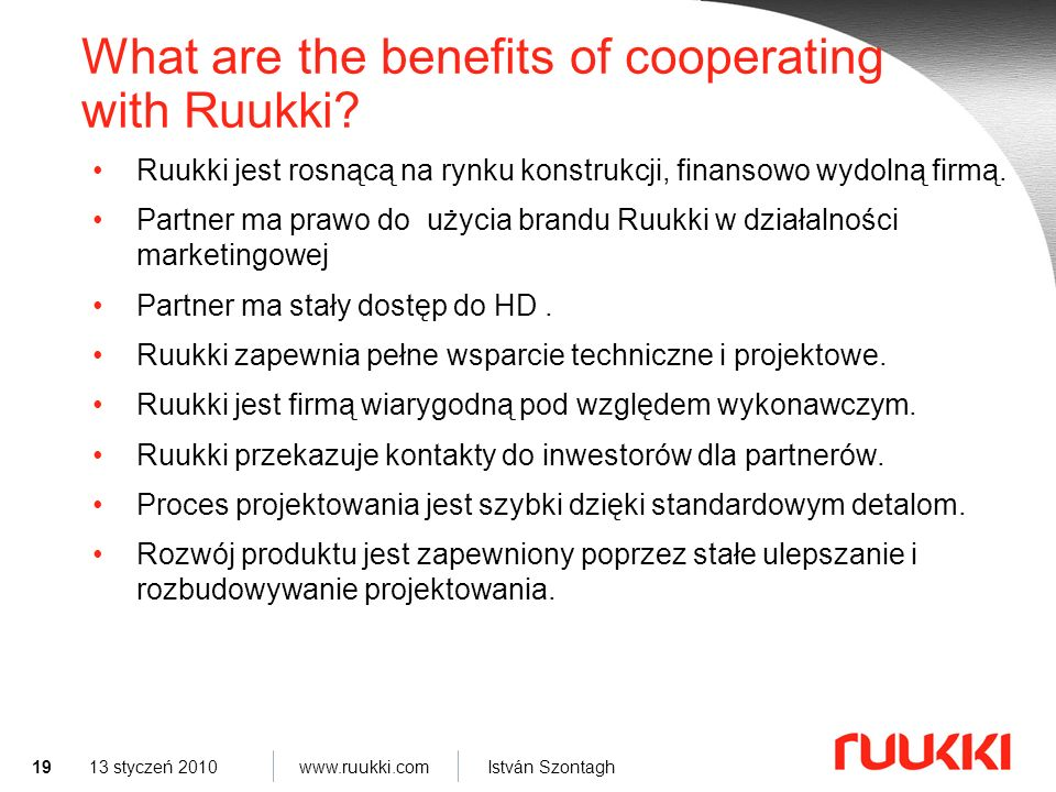 What are the benefits of cooperating with Ruukki
