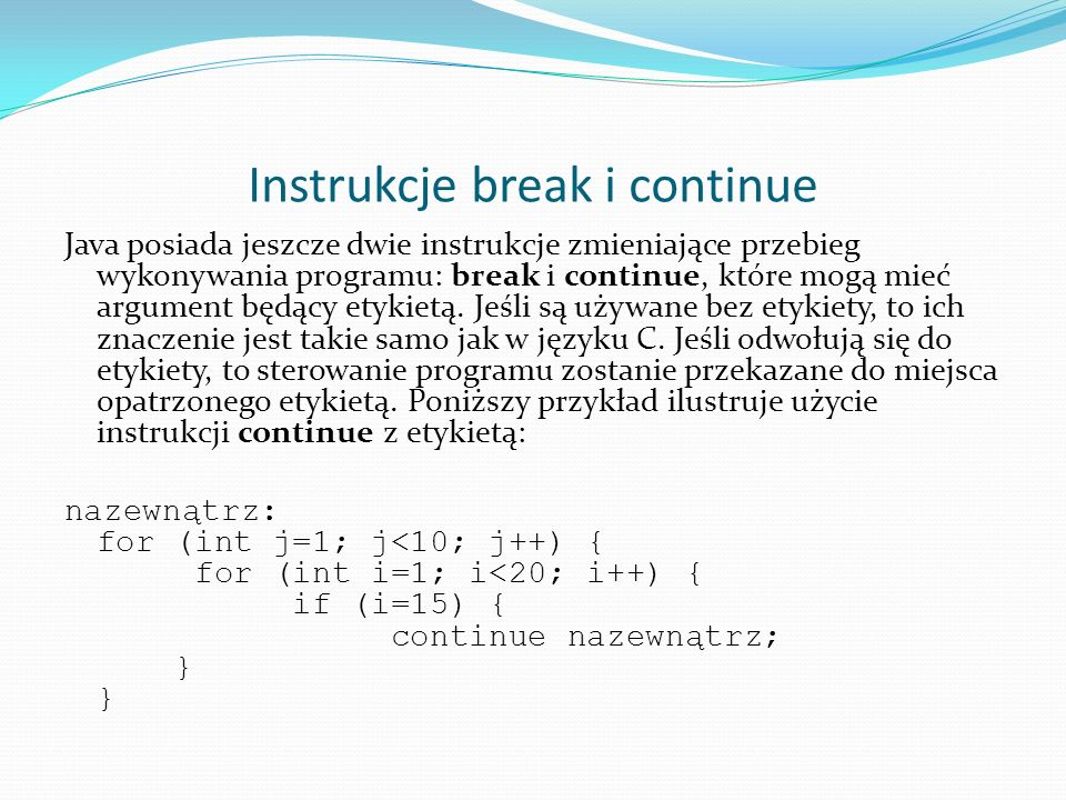 Instrukcje break i continue