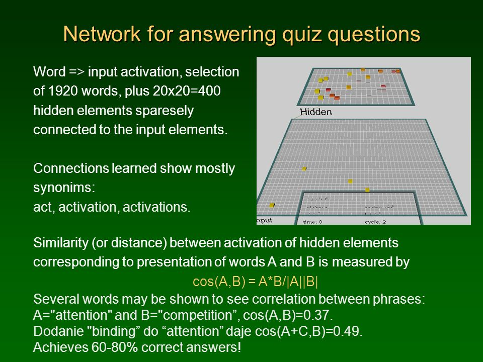 Network for answering quiz questions