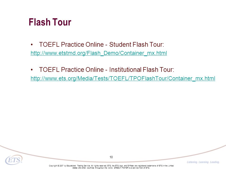 Flash Tour TOEFL Practice Online - Student Flash Tour: