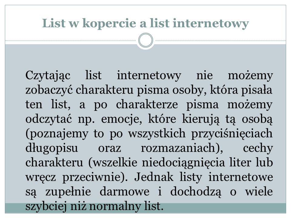 List w kopercie a list internetowy