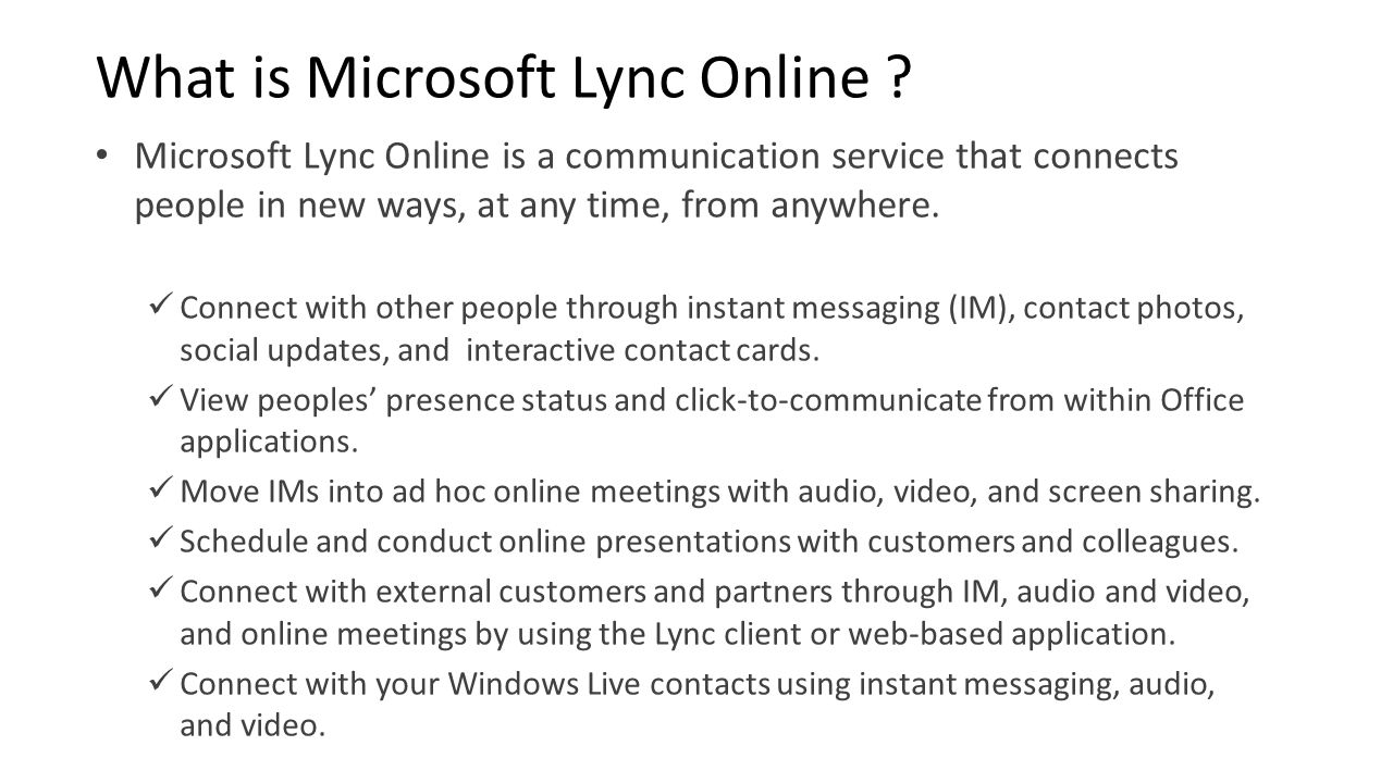 What is Microsoft Lync Online