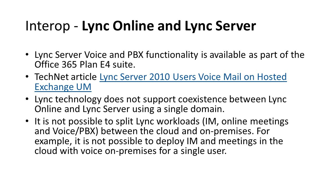 Interop - Lync Online and Lync Server