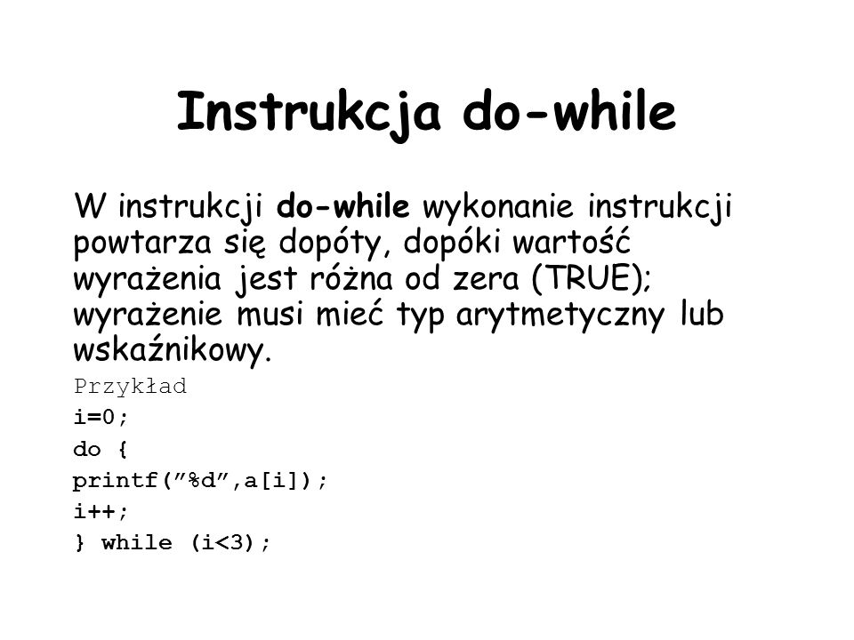 Instrukcja do-while