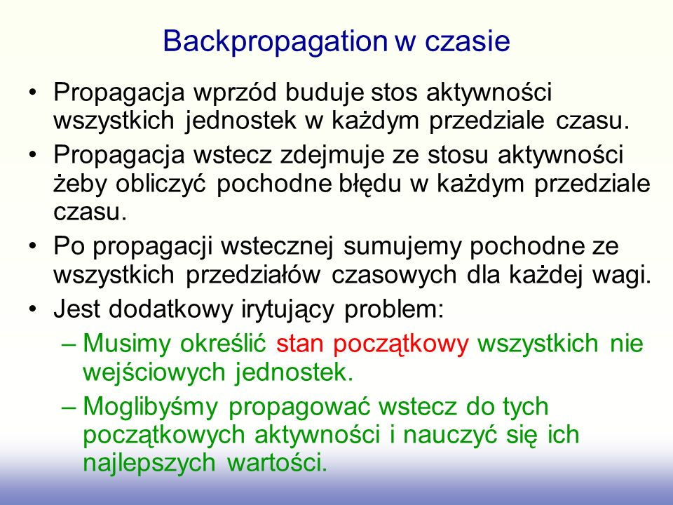 Backpropagation w czasie