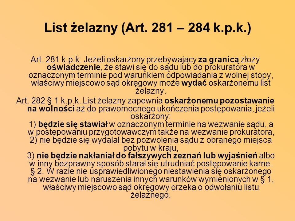 List żelazny (Art. 281 – 284 k.p.k.)