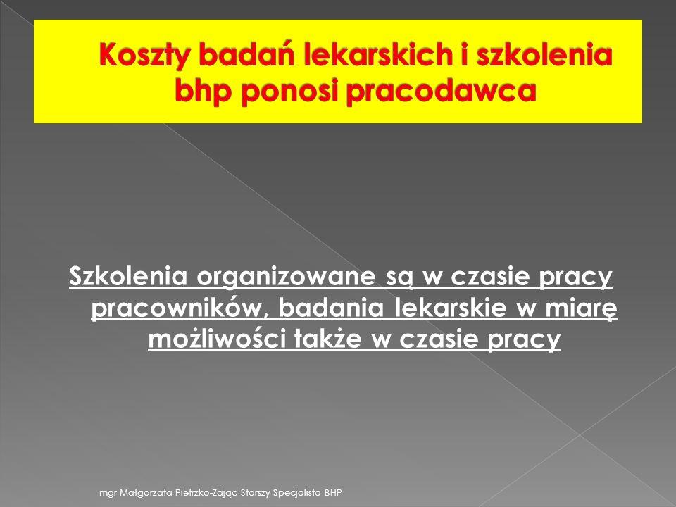 708efb977195b0 Koszty badań lekarskich i szkolenia bhp ponosi pracodawca