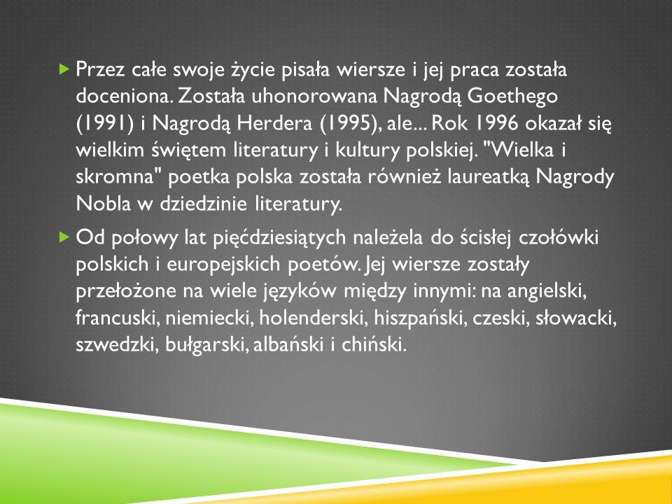 Wislawa Szymborska Ppt Pobierz
