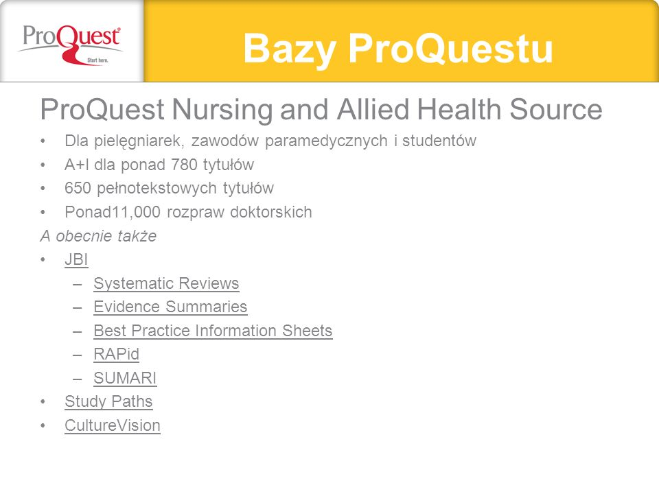 Bazy ProQuestu ProQuest Nursing and Allied Health Source