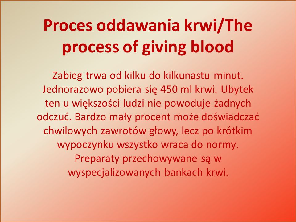 Proces oddawania krwi/The process of giving blood