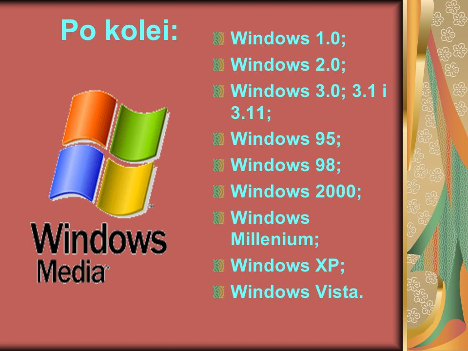 Po kolei: Windows 1.0; Windows 2.0; Windows 3.0; 3.1 i 3.11;