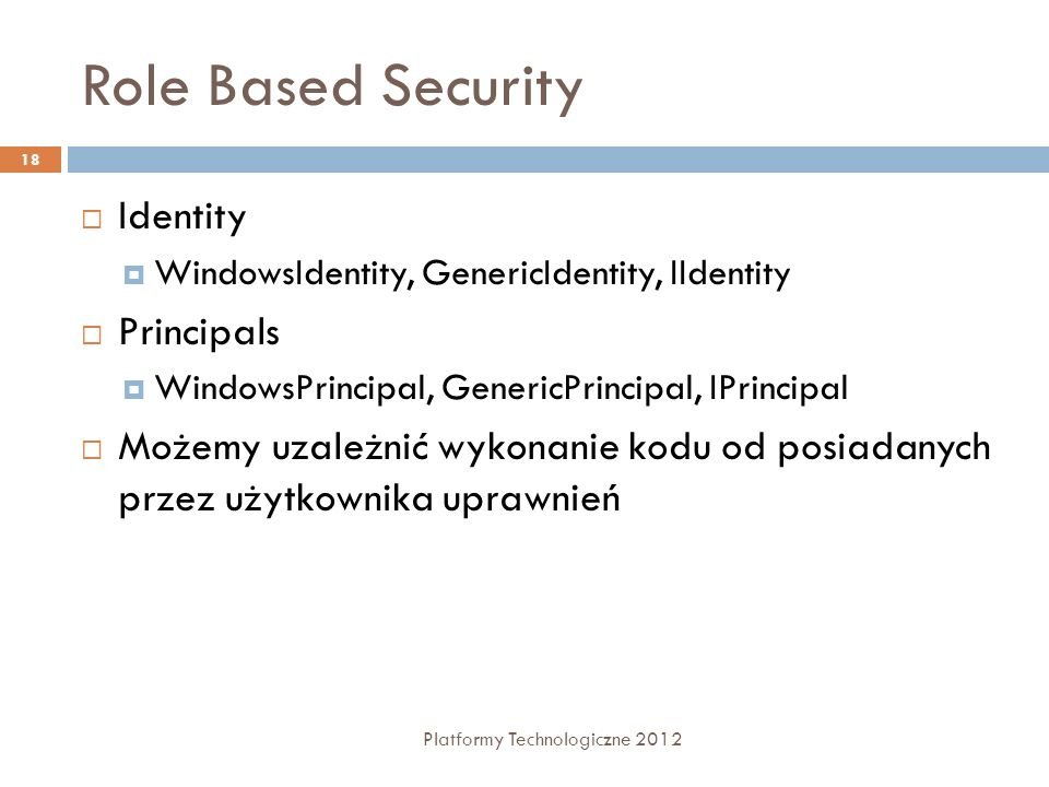 Role Based Security Identity Principals
