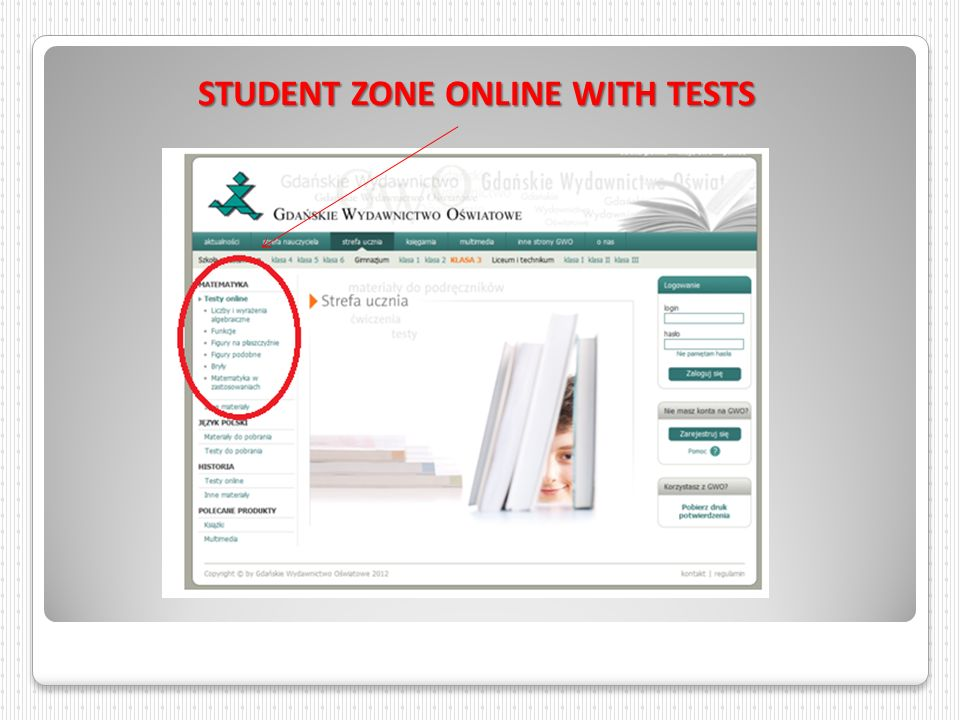 STUDENT ZONE ONLINE WITH TESTS