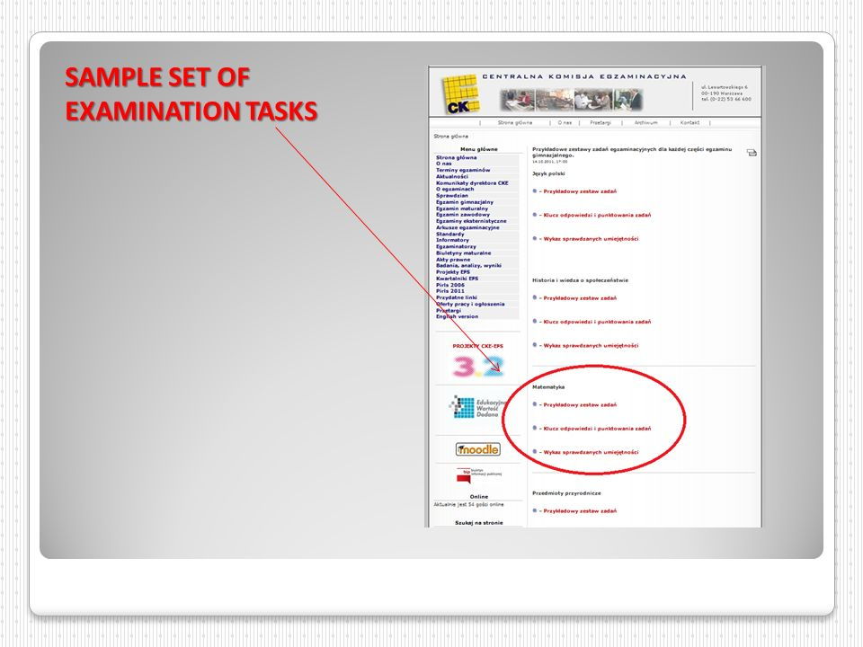 SAMPLE SET OF EXAMINATION TASKS