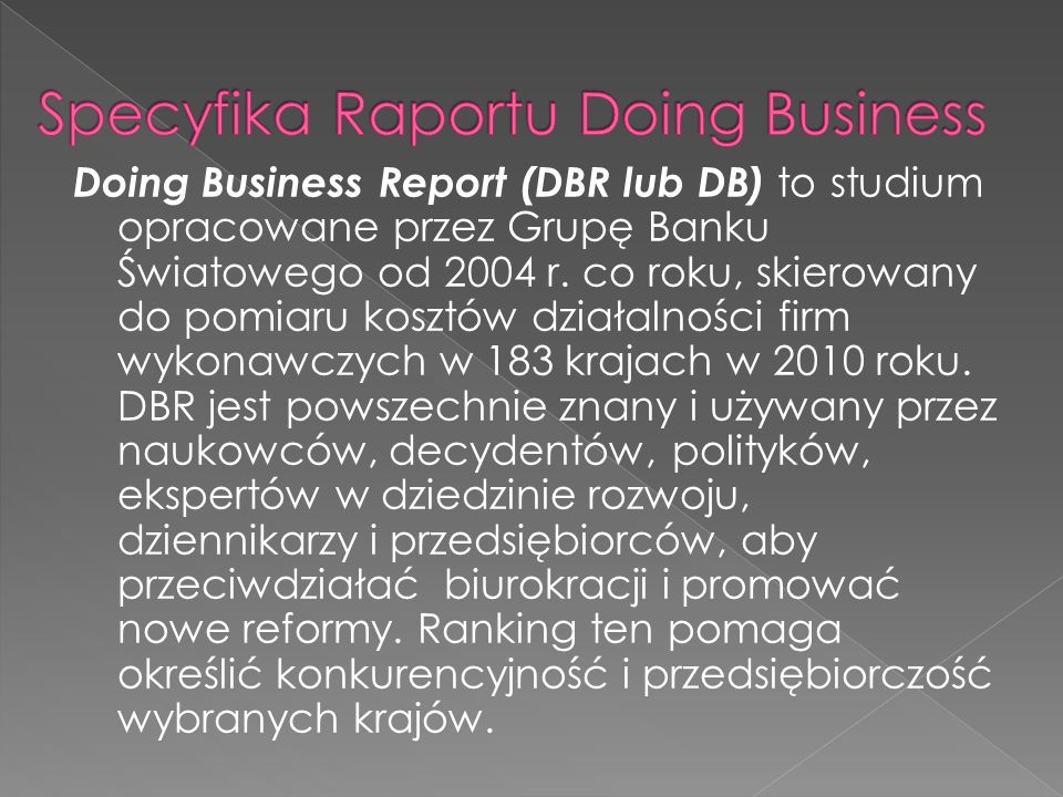 Specyfika Raportu Doing Business