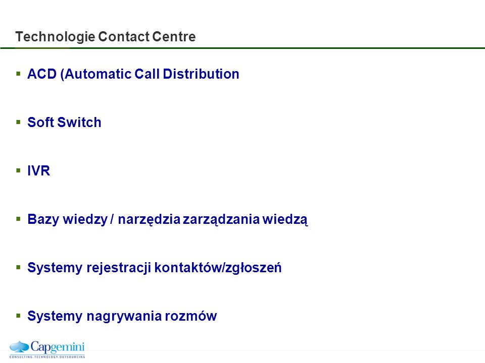 Technologie Contact Centre