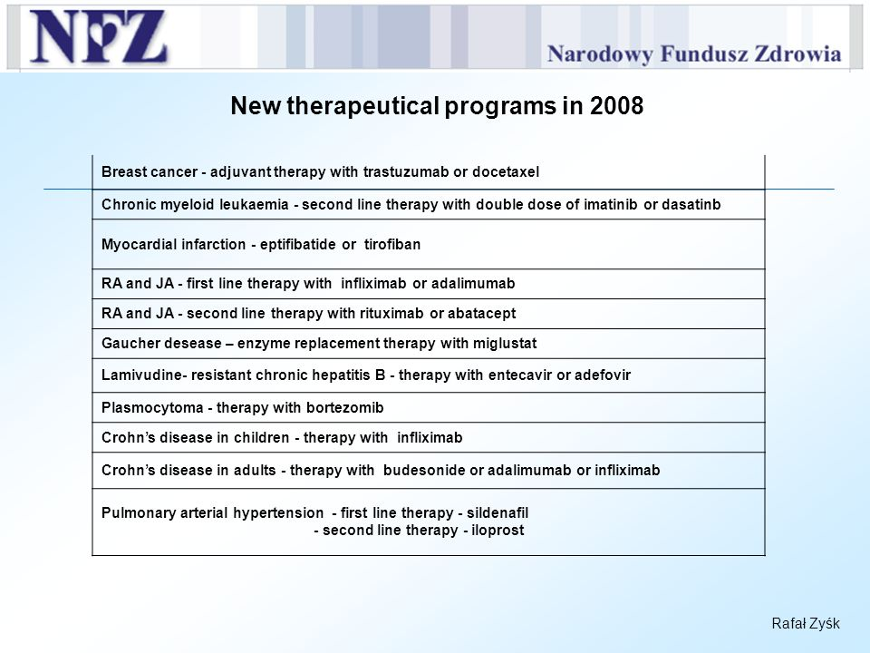 New therapeutical programs in 2008